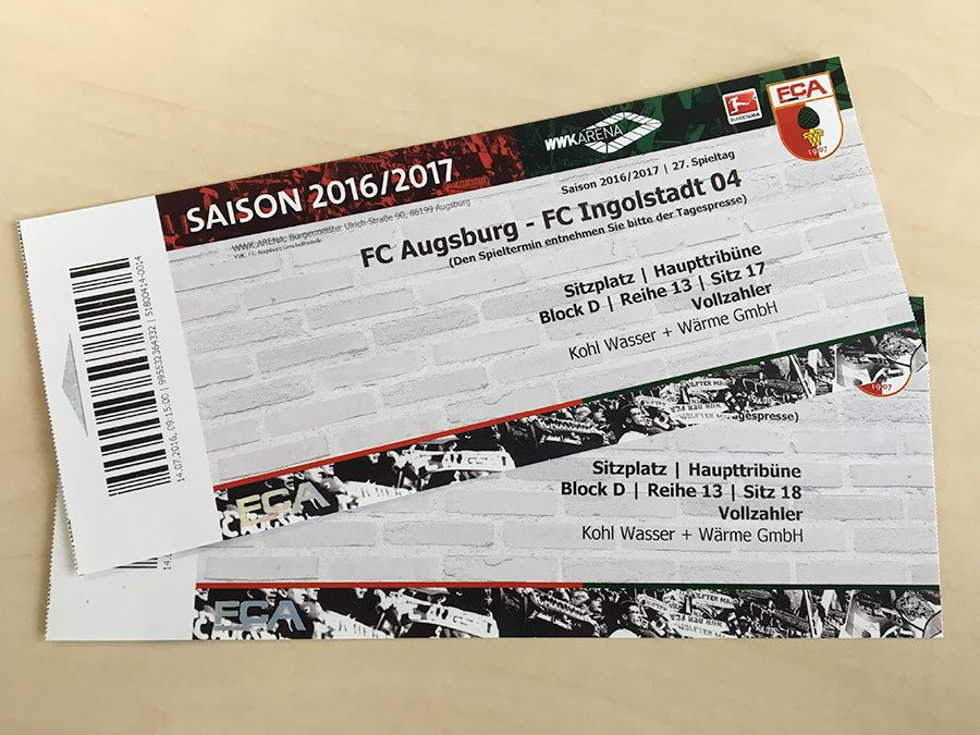 Gewinnspiel: 2 Karten FC Augsburg : FC Ingolstadt