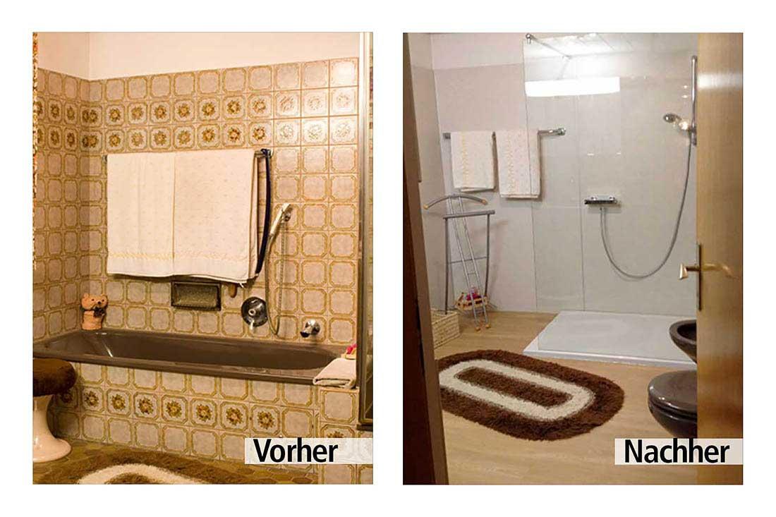 Vorher-Nachher Beispiel einer Duschsanierung